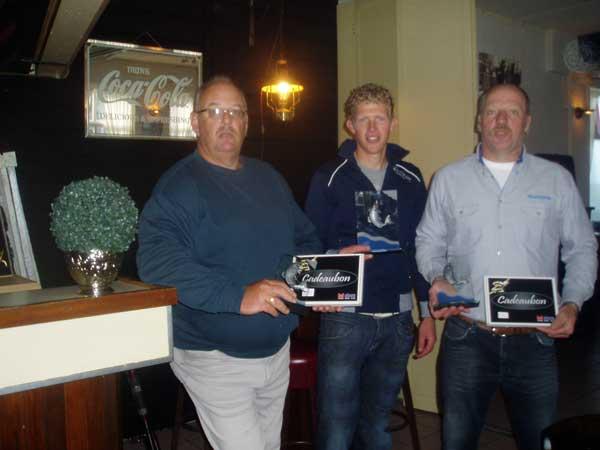 De eerste drie winnaars mogen niet ongenoemd blijven: overal winnaar is Frank Peene en wel met 431 cm. aan vis tweede in dit geweld was Sjaak Verburg met 363 cm. vis en derde Janko de Witte die 330 cm. aan vis op de meetlat wist te brengen.